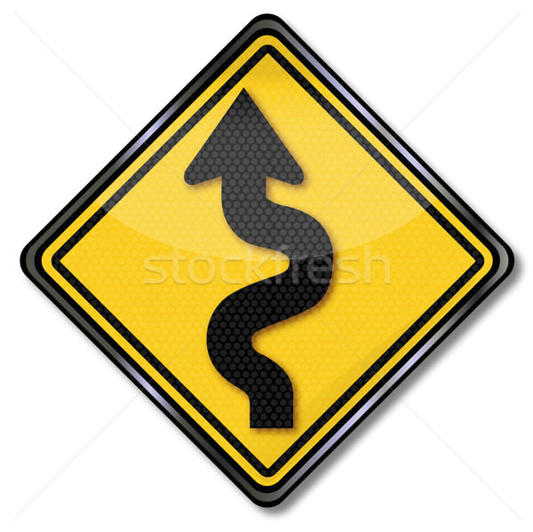 Traffic sign warning curvy road and curves Stock photo © Ustofre9
