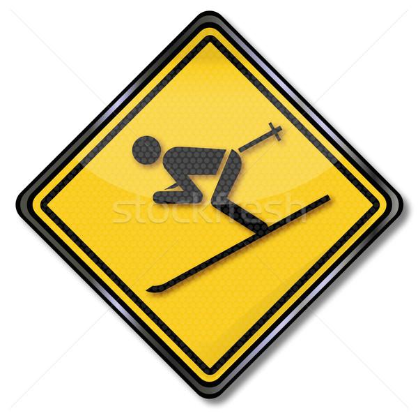 Stok fotoğraf: Imzalamak · dikkat · Kayak · tatil · sokak · kar