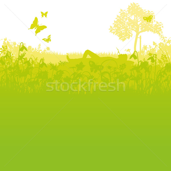 To lie in the garden with a blade of grass in the mouth Stock photo © Ustofre9