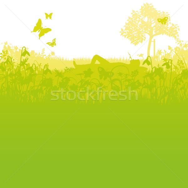 Hazugság kert penge fű száj virágok Stock fotó © Ustofre9
