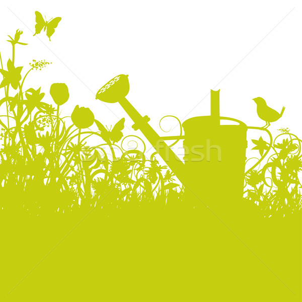 Bird on a watering can in the enchanted garden Stock photo © Ustofre9