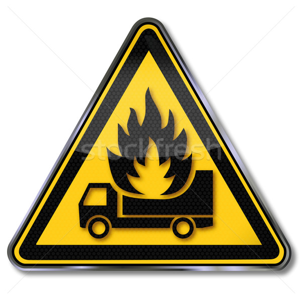 Danger sign warning truck under fire Stock photo © Ustofre9