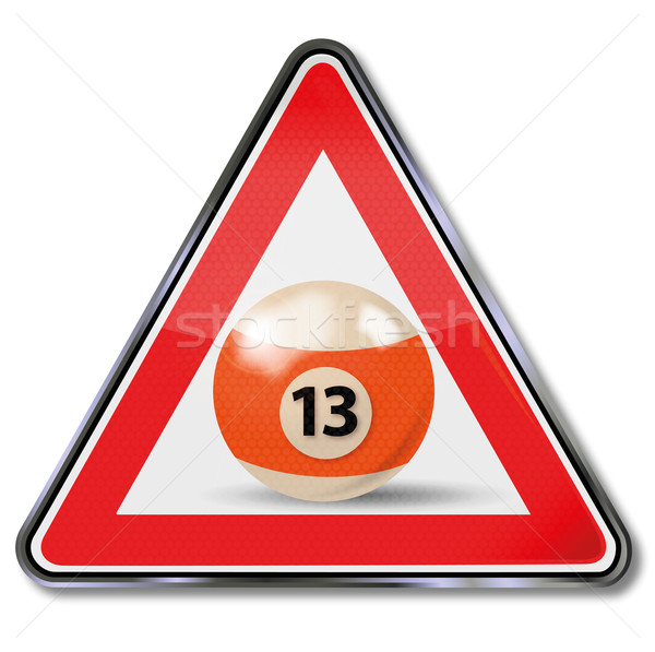 Sign billiard ball number 13 Stock photo © Ustofre9