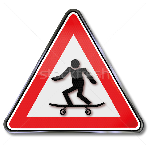 Stock photo: Sign with skateboard and skateboarder
