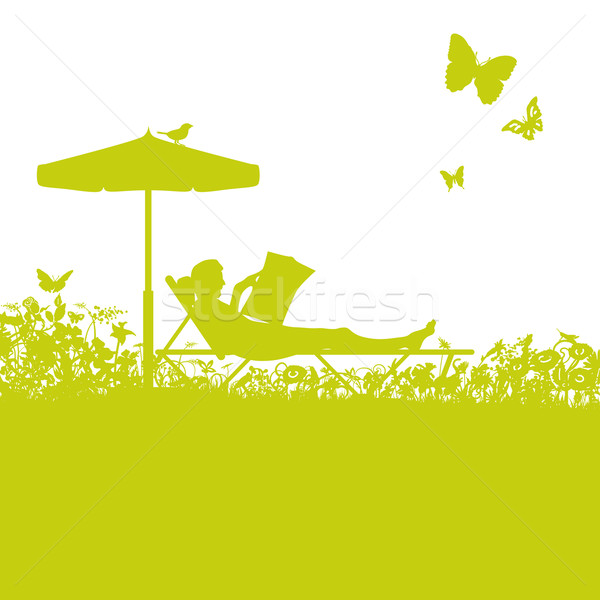 Lounger in the garden and break Stock photo © Ustofre9