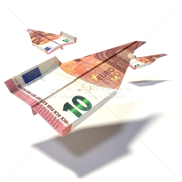 Paper plane made of a 10 euro bill Stock photo © Ustofre9