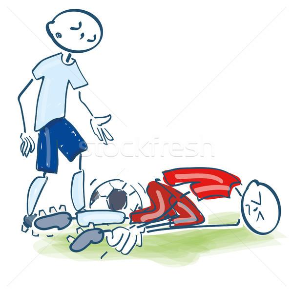 Stick figure urazy sportowe piłka nożna gry zdrowia sportowe Zdjęcia stock © Ustofre9