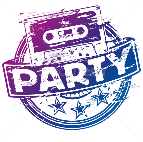 Rubber stamp music cassette and party Stock photo © Ustofre9