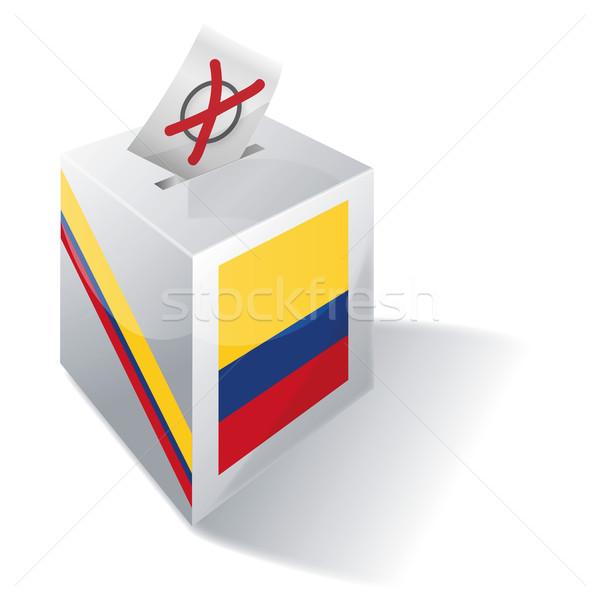 Szavazócédula doboz Colombia kereszt zászló Európa Stock fotó © Ustofre9