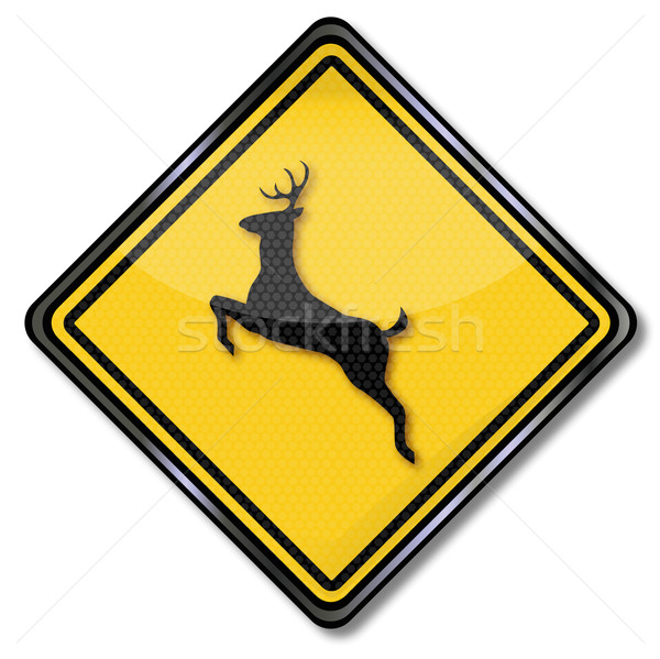 Sign Caution animal crossing and stag  Stock photo © Ustofre9