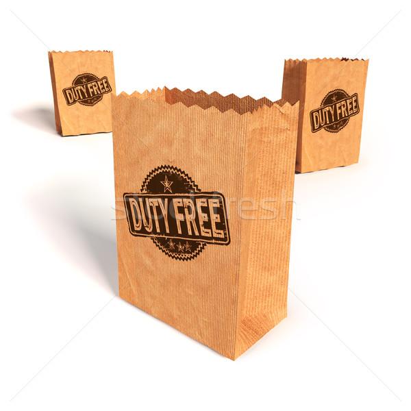 Papírzacskók kötelesség szabad város vásárlás jókedv Stock fotó © Ustofre9