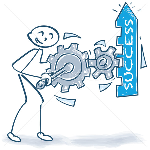 Stick figure with boost the success with gears Stock photo © Ustofre9