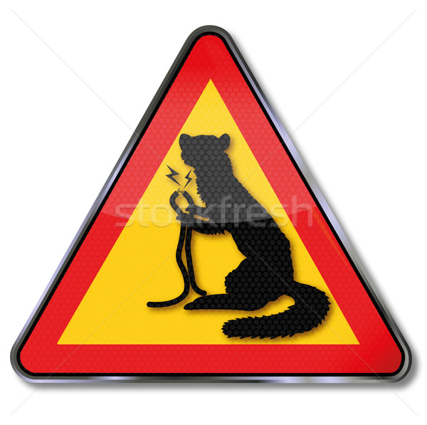 Sign marten bites into cable of a car Stock photo © Ustofre9