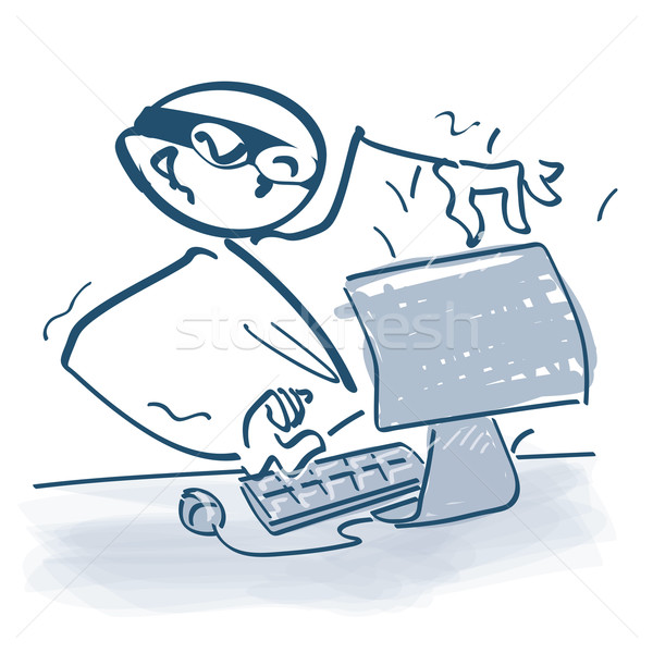 Stick figure as a hacker in front of computer Stock photo © Ustofre9