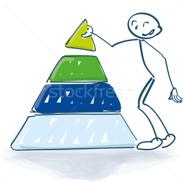Stick figure with a pyramid of success Stock photo © Ustofre9