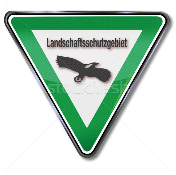 Green conservation area shield with eagle Stock photo © Ustofre9