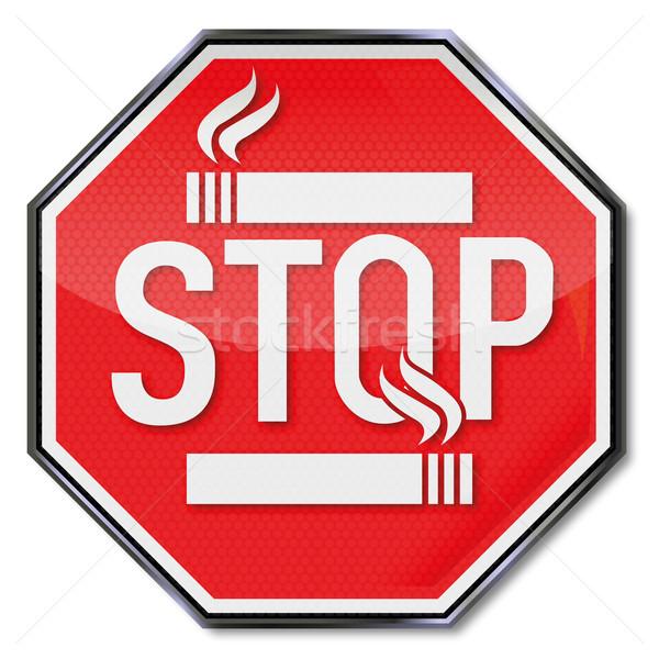 Durdurmak sigara içme imzalamak sağlık duman işaretleri Stok fotoğraf © Ustofre9