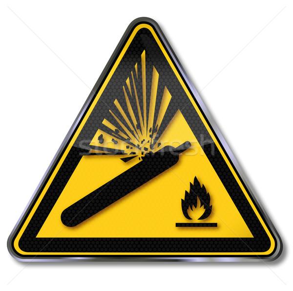 Znak niebezpieczeństwo ostrzeżenie gazu wybuchu prawa butelki Zdjęcia stock © Ustofre9