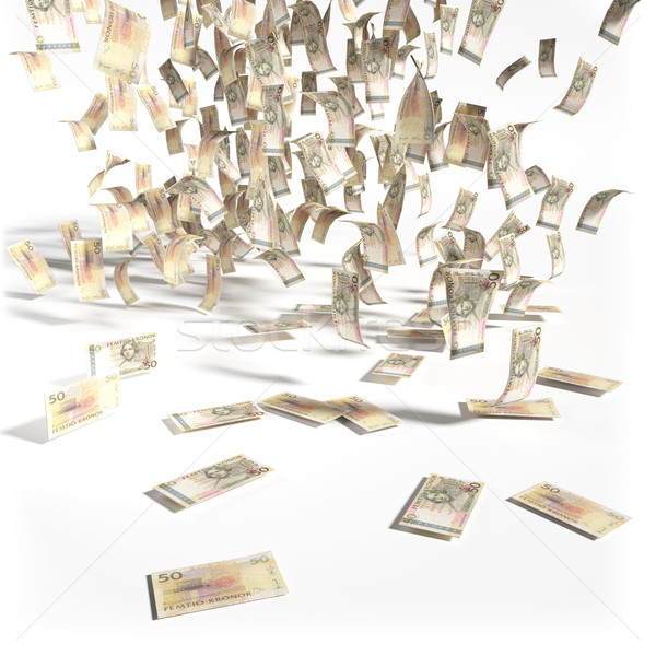 Money rain of 50 swedish kronor bills Stock photo © Ustofre9
