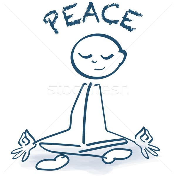 Stick figure sitting cross-legged, peace and yoga seat Stock photo © Ustofre9