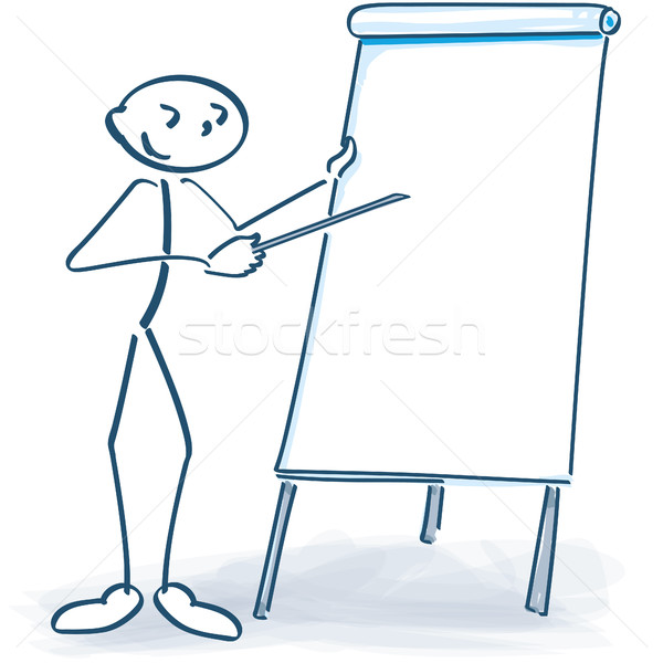 Stick figure with white flip chart Stock photo © Ustofre9