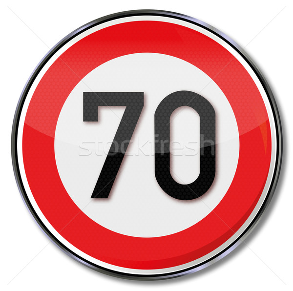 Sign maximum speed 70 Stock photo © Ustofre9