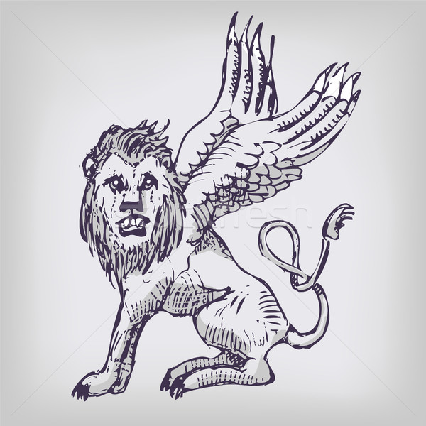 Drawing lion with wings Stock photo © Ustofre9