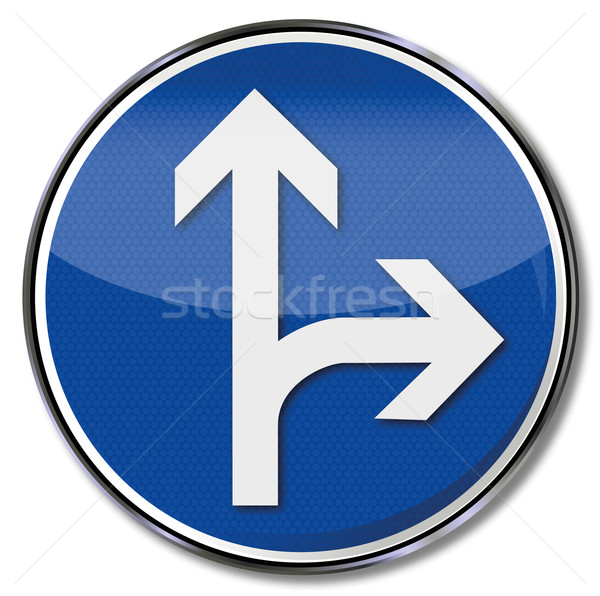 Traffic sign arrow straight and right Stock photo © Ustofre9