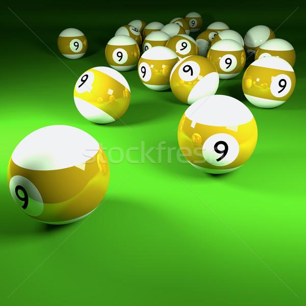 Stok fotoğraf: Sarı · beyaz · bilardo · numara · dokuz