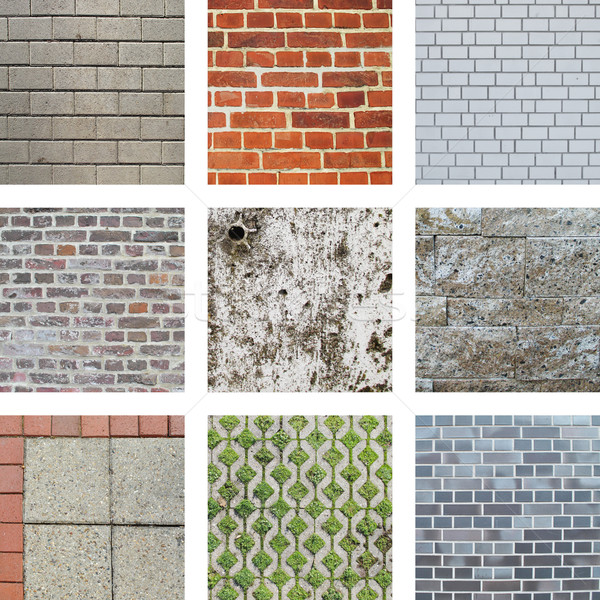Nine images of walls and stones Stock photo © Ustofre9