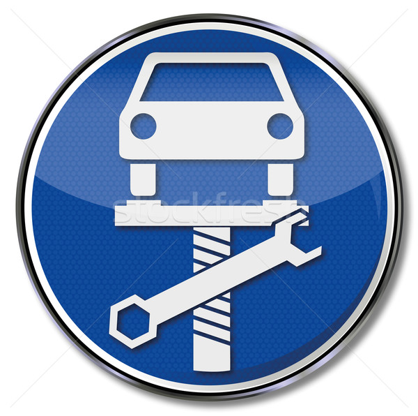 Sign with car on lift Stock photo © Ustofre9