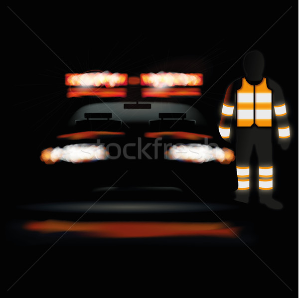 Ambulance at night and staff in a light vest Stock photo © Ustofre9