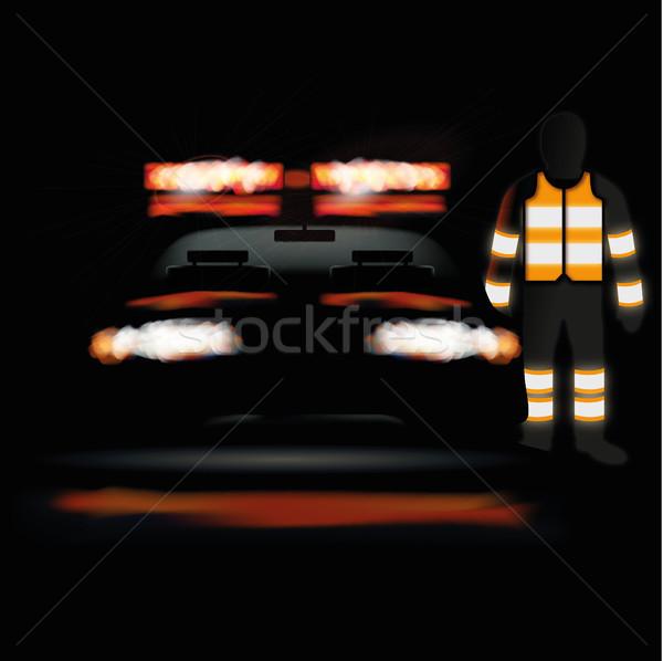 Krankenwagen Nacht Personal Licht Weste Straße Stock foto © Ustofre9