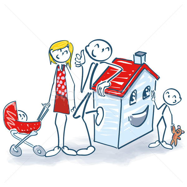 Stick figure with house and home for small family Stock photo © Ustofre9