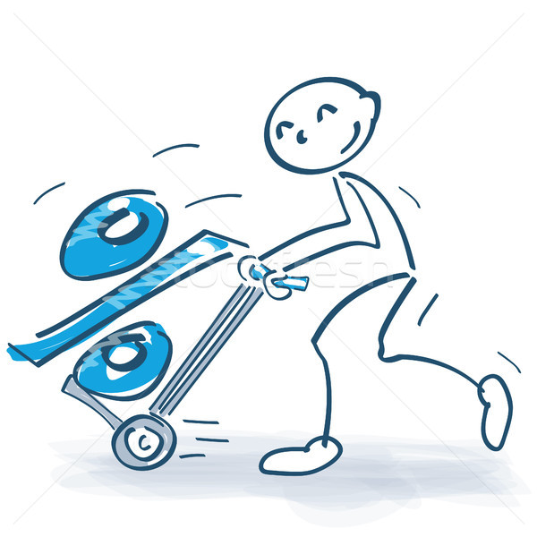 Stick figure with hand truck and a thick percent Stock photo © Ustofre9