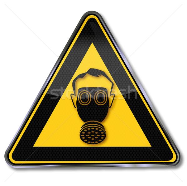 Tehlike işareti tehlike gaz maskesi sağlık sanayi maske Stok fotoğraf © Ustofre9