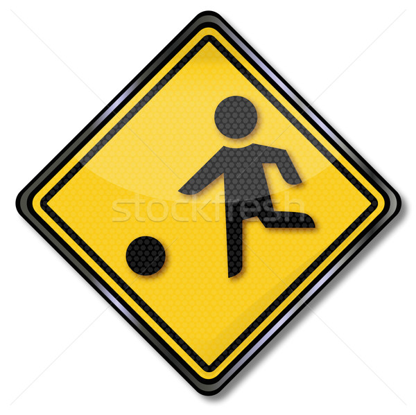 Trafik işareti çocuklar oynama futbol oyun Stok fotoğraf © Ustofre9