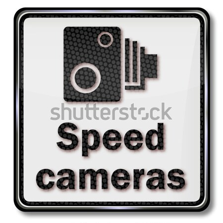 Traffic sign warning radar control and speed cameras Stock photo © Ustofre9