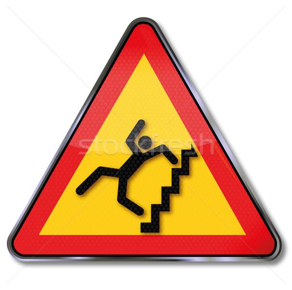 Ostrożność stromy schody crash podpisania Zdjęcia stock © Ustofre9