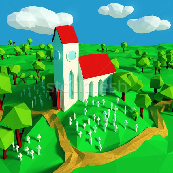 мало Церкви кладбище здании пластина история Сток-фото © Ustofre9