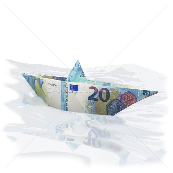 Paper boat of twenty euro bills Stock photo © Ustofre9