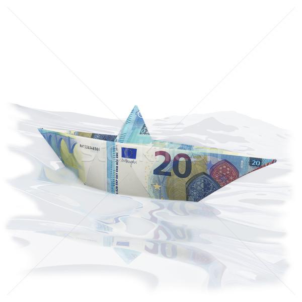 Papier boot twintig euro geld Stockfoto © Ustofre9