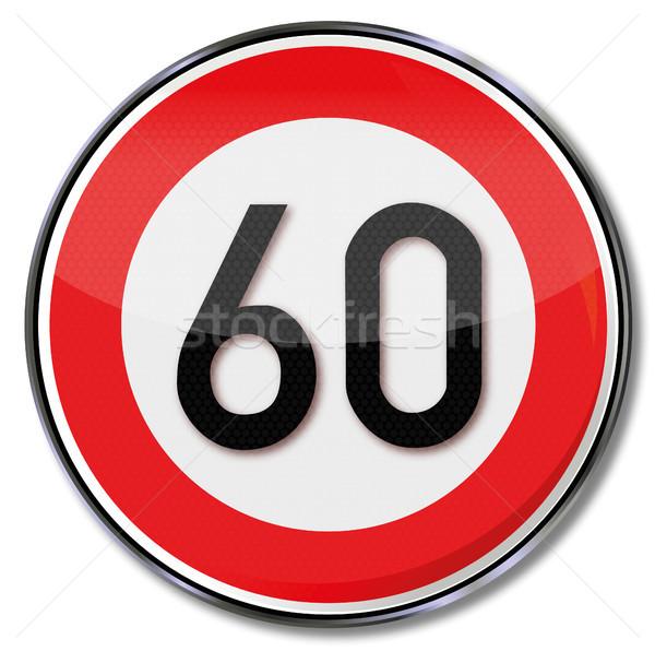 Assinar limite de velocidade 60 rua lei tráfego Foto stock © Ustofre9