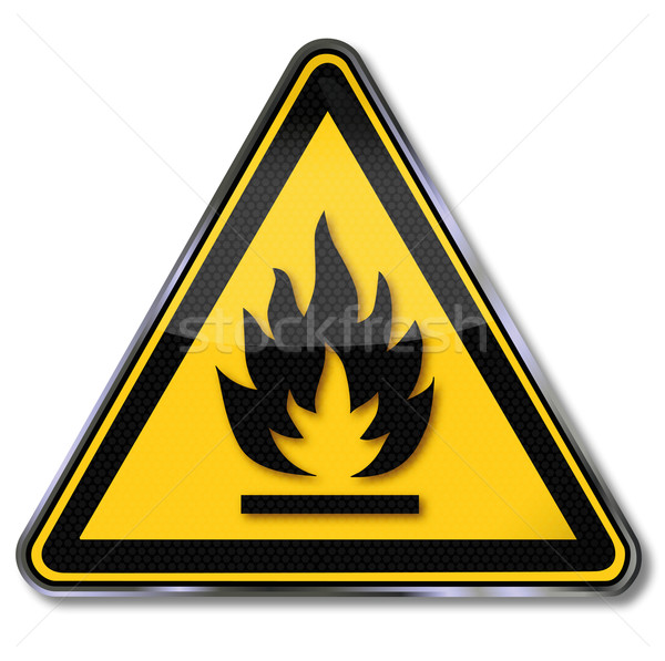 Signe de danger prudence feu flamme inflammable signe Photo stock © Ustofre9