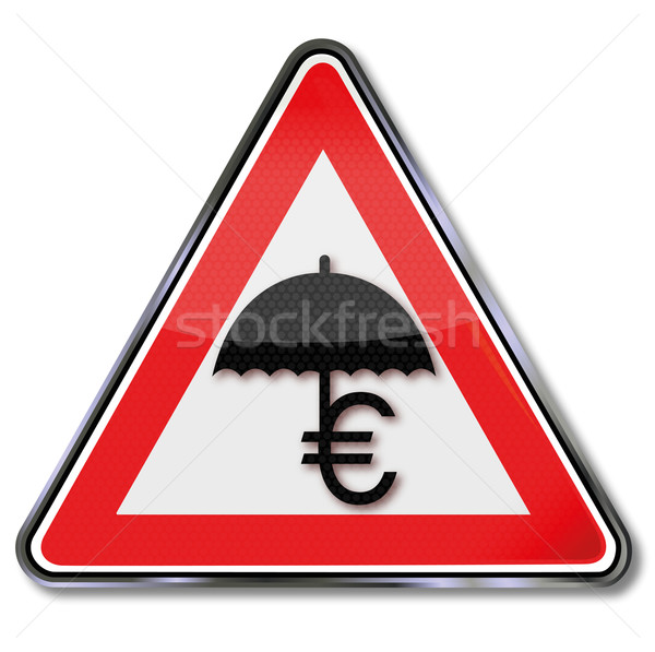 Teken euro redding regen scherm storm Stockfoto © Ustofre9