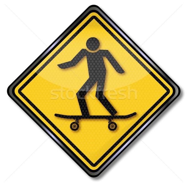 Warning sign skaters Stock photo © Ustofre9