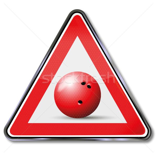 Zeichen Bowling Bowlingkugel Sport Ball Zeichen Stock foto © Ustofre9
