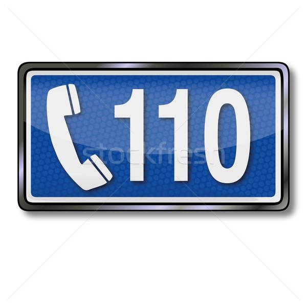 Emergencia signo número carretera seguridad azul Foto stock © Ustofre9