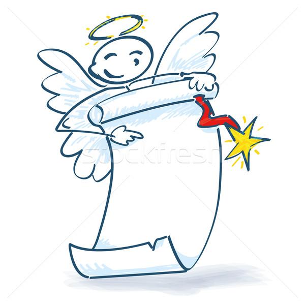 Pálcikaember angyal papír zsemle mosoly szeretet Stock fotó © Ustofre9
