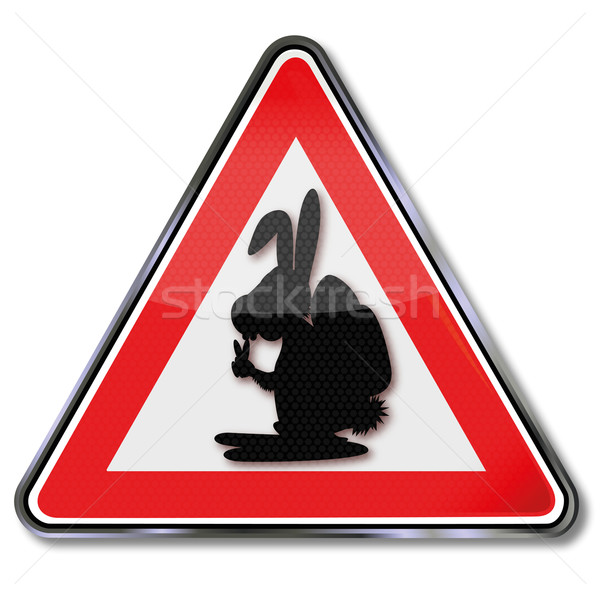 Sign with Easter bunny Stock photo © Ustofre9